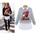 XL-5XL Plus Size Fashion Women Sweater Character Applique Faux 2 Piece Long Sleeve Turn-down Collar Pullover Knitwear M0001-ZD15