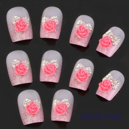 Hot 10pcs Silver Crystal Pink Flower 3d Nail Art Stickers
