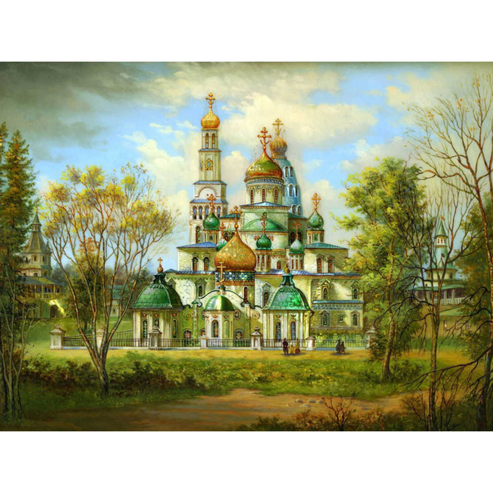 5D DIY Diamond Painting Scenery Religion Full Square Diamond Embroidery Landscape Orthodox Christianity Church Painting a1018
