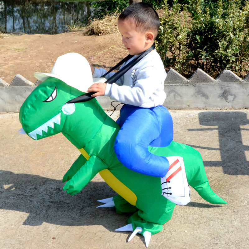 Small Kids Ride on Inflatable Dinosaur Fancy Dress Unisex Halloween Christmas Carnival Party Cosplay Costume Suit Toys