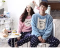 Wholesale Winter Pajamas Lovers Animal Cartoon Print Couple Pajama Sets Warm Flannel Long Sleeve Loose Sleepwear Women Pajamas