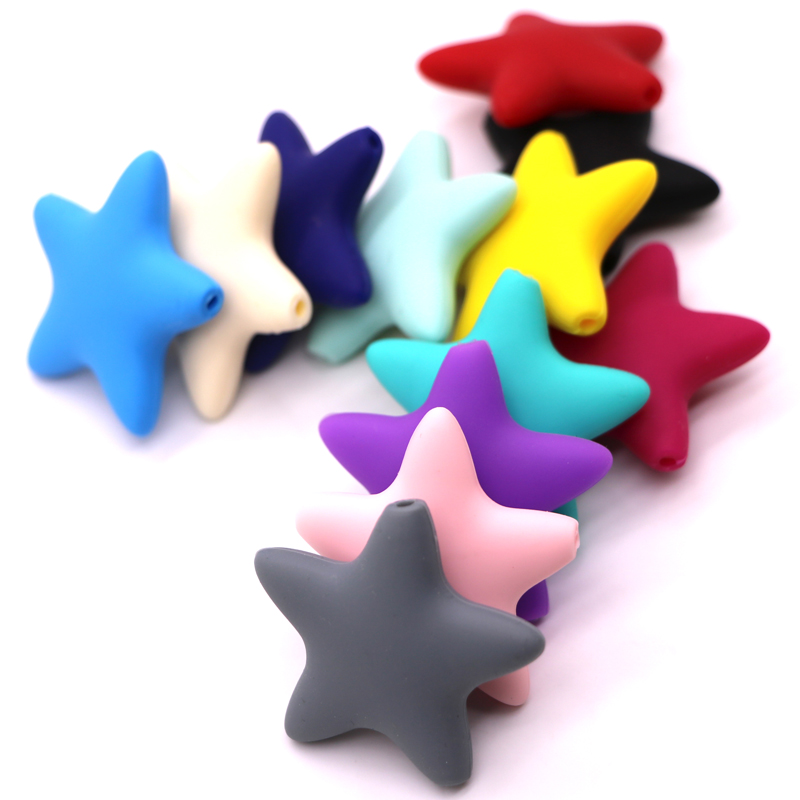 100pcs/lot Star Silicone Beads For Teething Necklace Loose Beads Baby Teether DIY Pacifier Chain Necklace Food Grade Silicone стоимость