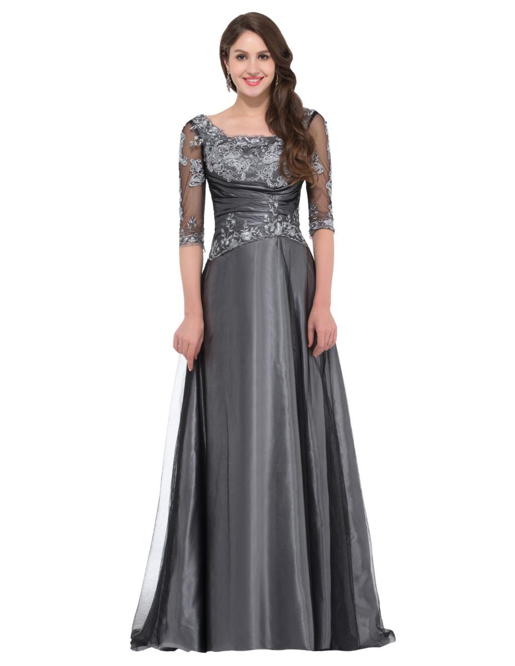 eac28942fe Grace Karin Elegant Sexy Grey Half Sleeve Evening Dresses 2017 ...