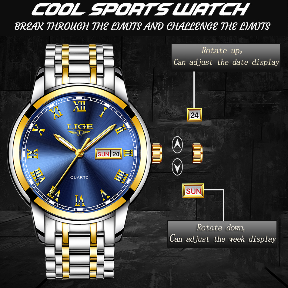 HTB1gyopdvWG3KVjSZPcq6zkbXXaV LIGE Watch Men Fashion Sports Quartz Full Steel Gold Business Mens Watches Top Brand Luxury Waterproof Watch Relogio Masculino