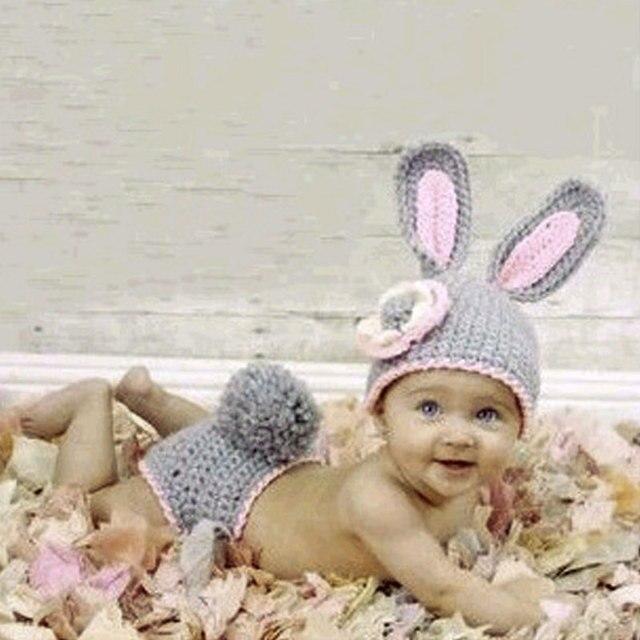 Милый Зайчик Детская Одежда для Новорожденных Набор Трикотажные Кролик Костюм Мягкая Ручной Крючком Новорожденных Фотографии Реквизит Фотография 0-12 Месяц