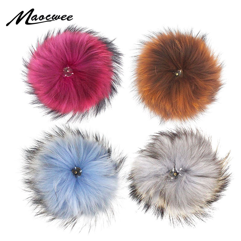 Ms.minshu Genuine Raccoon Fur Pompom Big Fox Fur Ball For Beanies Natural Fur Pompom For Hat Fur Charm Pompom On Cap Plush Pom High Quality And Inexpensive Apparel Accessories