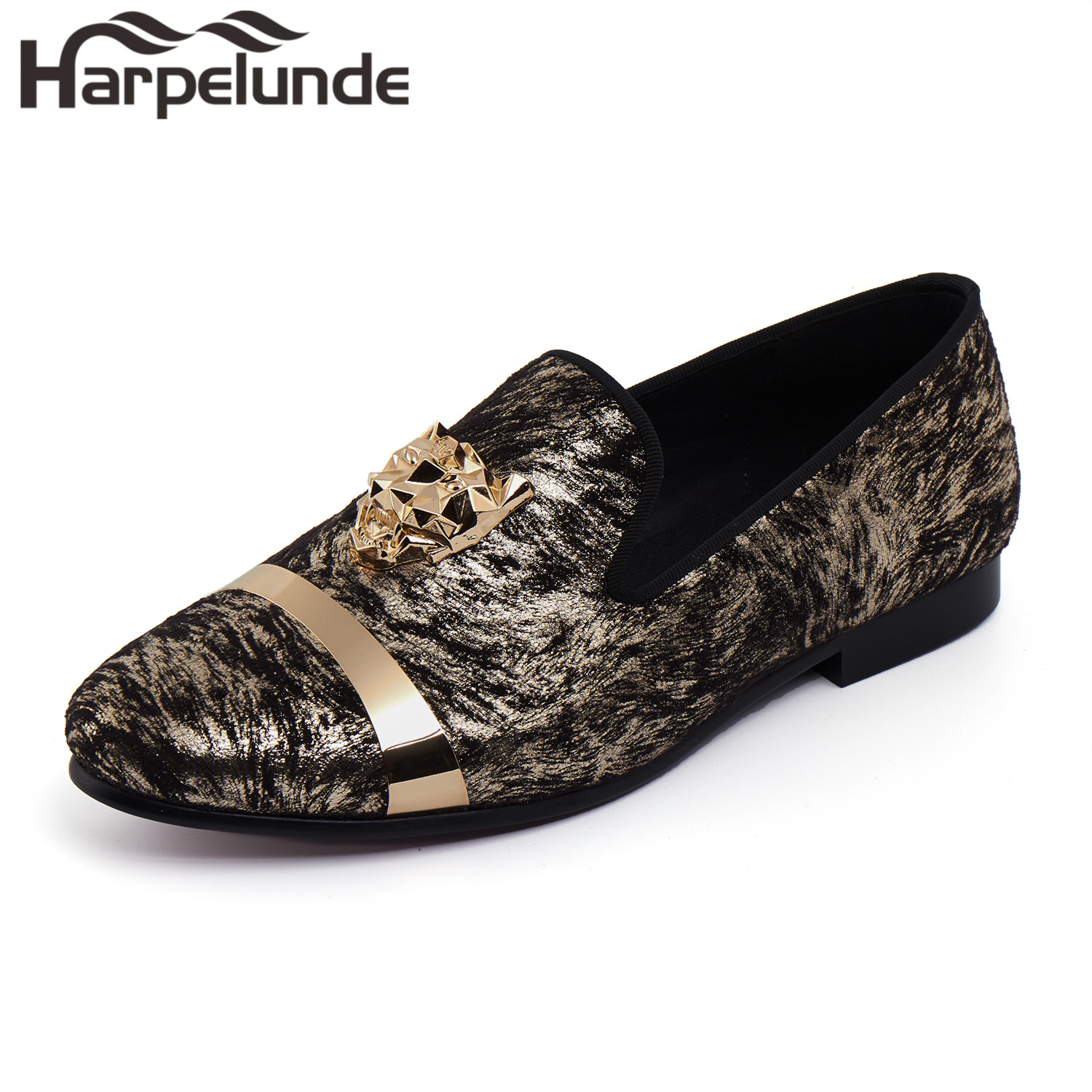 Harpelunde Animal Buckle Men Wedding Dress Shoes Printed Velvet Loafer Flats With Gold Plate Size 6 To 14