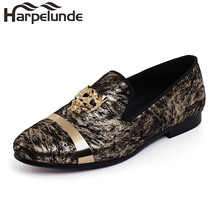 Harpelunde Animal Buckle Men Wedding Dress Shoes Printed Velvet Loafer Flats With Gold Plate Size 6 To 14 harpelunde driving loafer shoes men green flats badge velvet slippers size 7 14