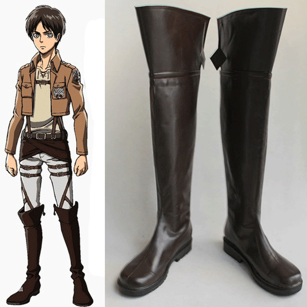 Anime Attack on Titan Cosplay High Boots Shingeki no Kyojin Eren Jaeger Ackerman Levi Shoes Custom Size Free Shipping