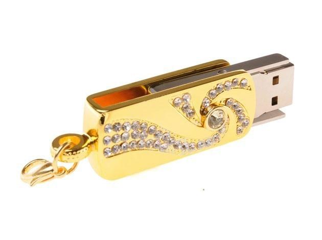 Métal cristal or acier inoxydable rotatif porte-clés mode USB lecteur Flash 8GB 16GB clé USB 32GB lecteur de stylo mémoire bâton U disque