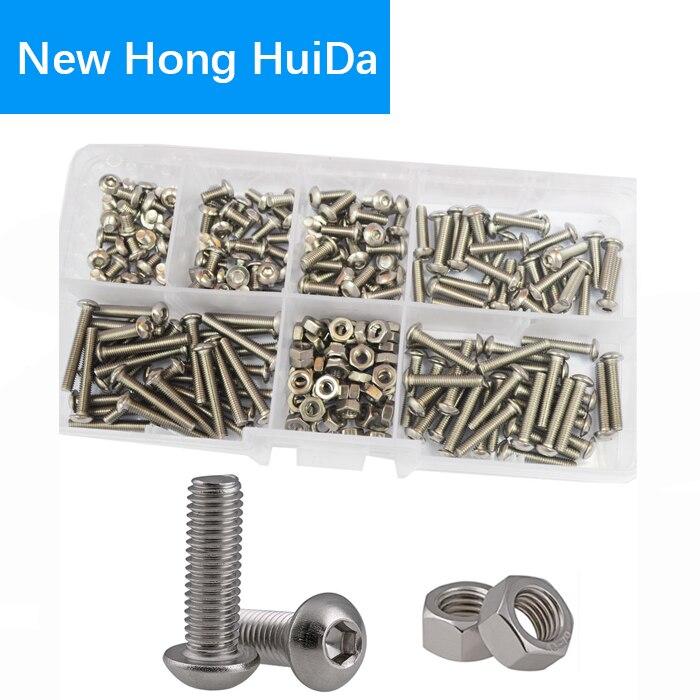M3 Button Head Socket Cap Bolts Screw Nut Metric Allen Hex Drive Assortment Kit 230Pcs,304Stainless Steel