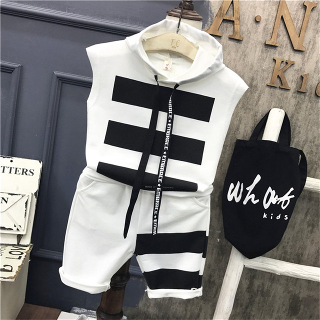 d7ba10a7dcf14 Children Boys Clothing set Baby Boy striped letter Sports Suits 2-7 Years  Kids 2pcs Sets Spring summer fashion Clothes Tracksuit