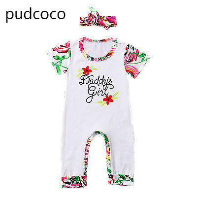 Baby Girl Floral Print Short Sleeve Rompers Daddy Girl Cotton Playsuit Jumpers One-piece Costume Headbead Outfits Clothing 0-24M