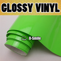 GLOSS Apple Green Vinyl Car Wrap Decal Sheet Glossy Green Self Adhesive Vinyl Bubble Free Size:1.52x30m/Roll