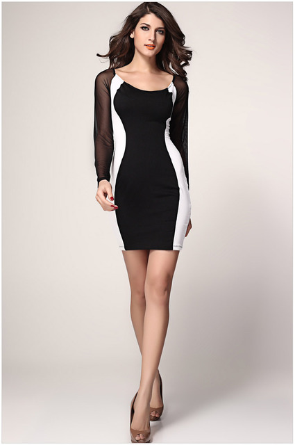 07044a4a9068 winter dress White Blue Red with Black Hourglass Mesh Long Sleeves Bodycon  Dress new fashion dress for women party dress LC2970