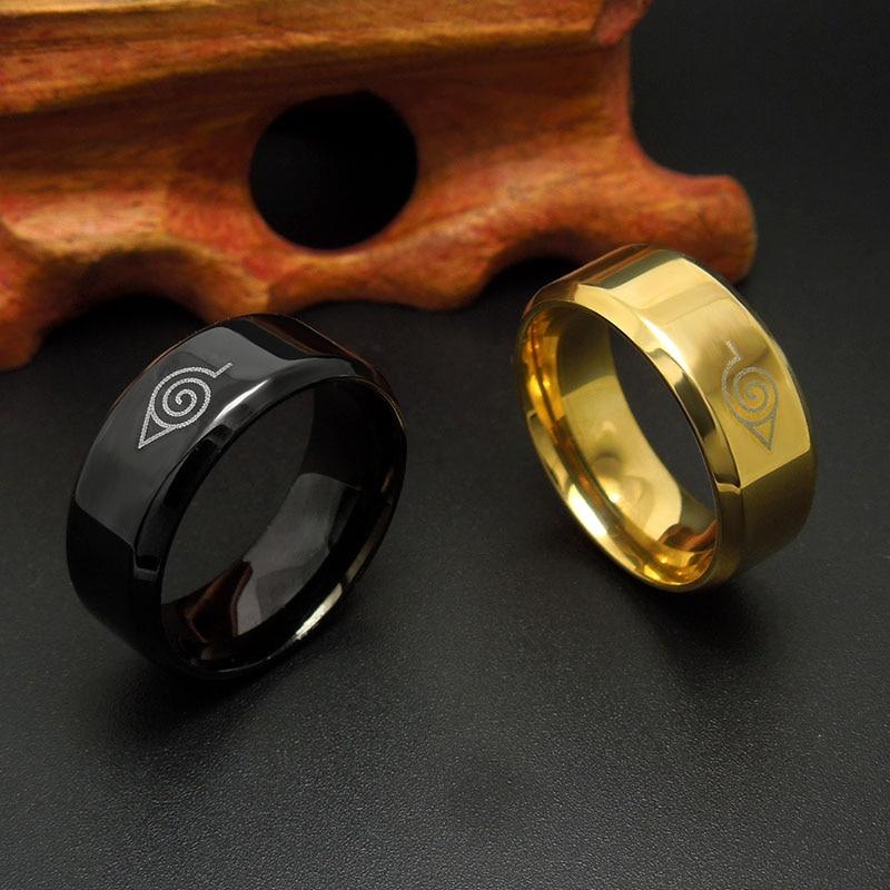 8mm brushed Naruto Konoha sign 316L Stainless Steel Ring Black finger rings for men women wholesale 1