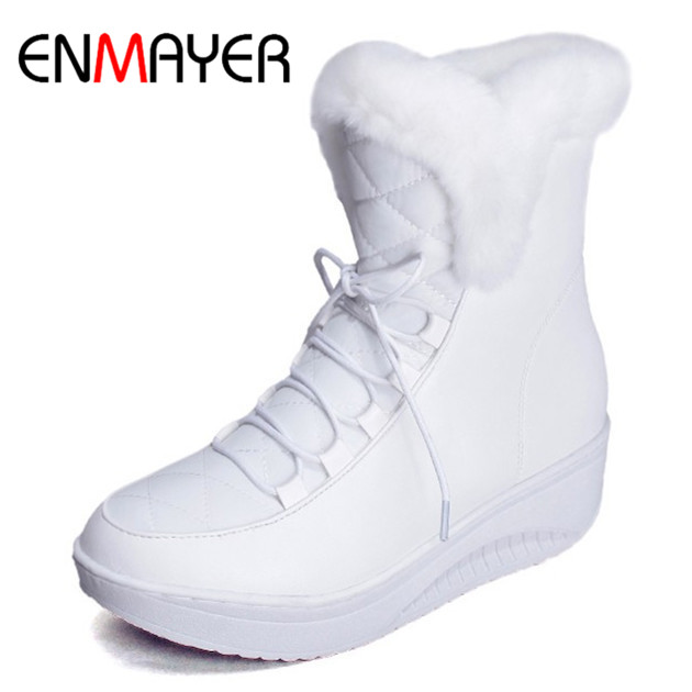 цены ENMAYER New Arrival Sale Shoes Women Boots Solid Slip-On Soft Cute Women Snow Boots Round Toe Flat with Winter Fur Ankle Boots
