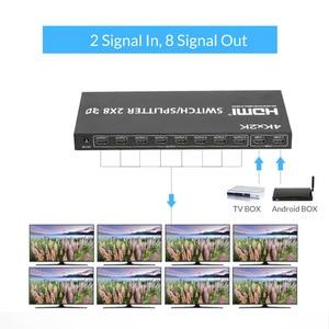 Image 3 - Разветвитель/переключатель Unnlink HD MI 2X8 UHD HD MI 1,4 4K @ 30 Гц, 2 входа 8 выходных сигналов, светодиодный проектор 4K TV mi box для монитора компьютера ps4