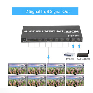 Image 3 - Unnlink HDMI Splitter/Switcher 2X8 UHD HDMI1.4 4K@30Hz 2 Input 8 Output for LED 4K TV mi box monitor computer ps4 projector