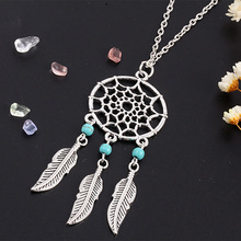 Dream Catcher Pendant Dreamcatcher Necklace Women Bohemia Tassels Feather Female Charm Statement Long Chain Jewelry Accessories
