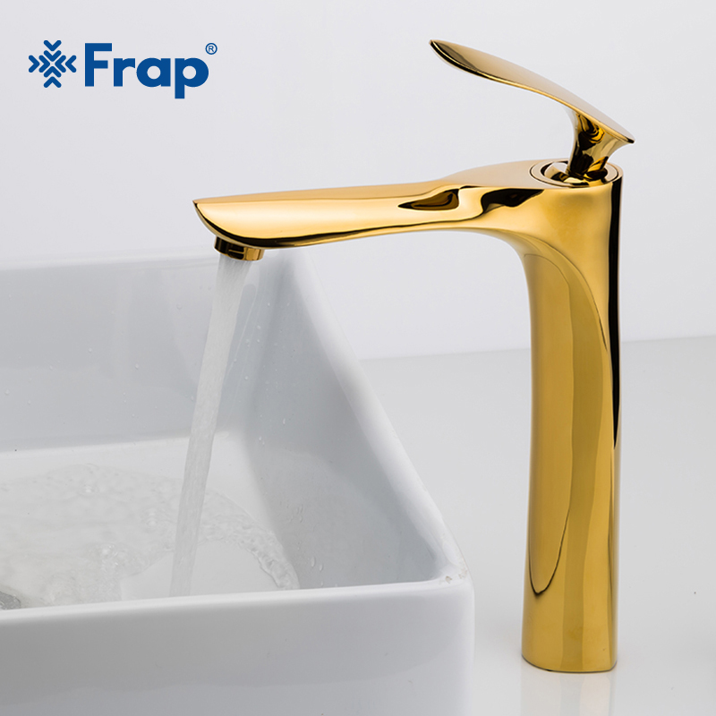 FRAP Luxury Golden Basin Faucet Brass Faucet Bathroom Taps Single Handle Cold and Hot Water Tap