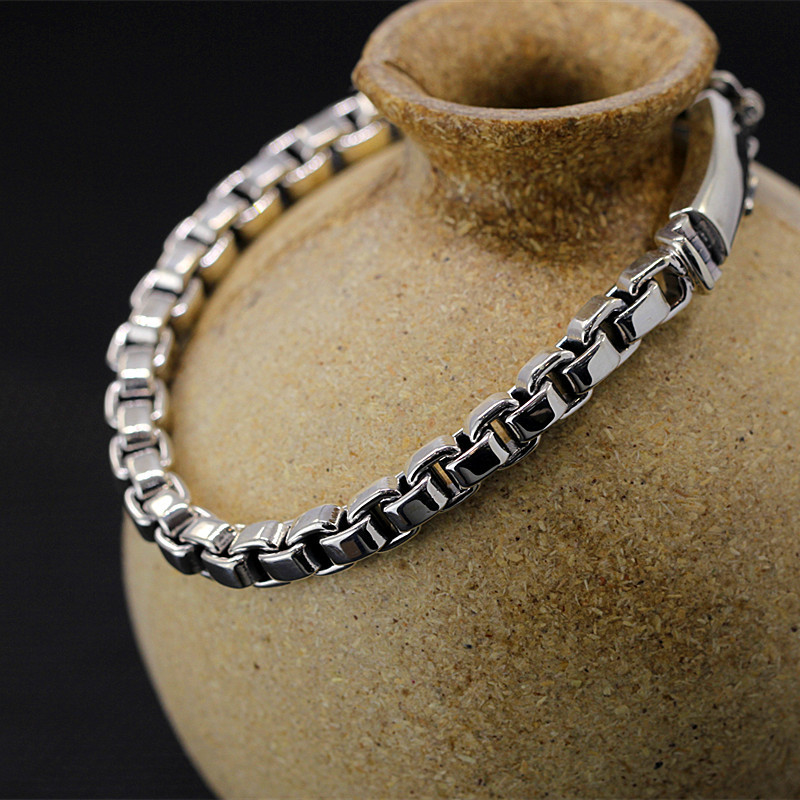 New Arrivals Pure Silver O World Chain Band Men Fine Jewelry S925 Silver Chian Band Men Cool O Shape Hand Chain Bangle