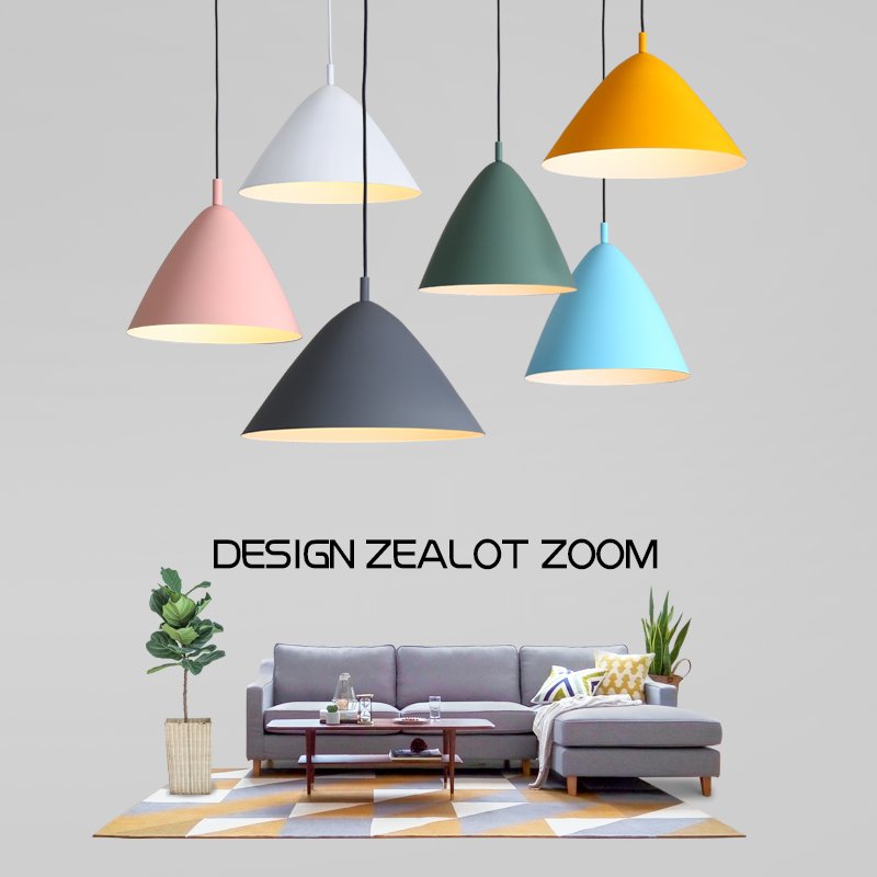 Modern Nordic Macaron Color Aluminum Lampshade Cone Shape Hanging Lamp for LED Bulb Pendant Light For Home Cafe Bar Restaurant