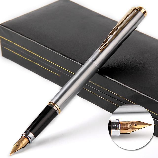 יוקרה 14k זהב מזרקת עט Wingsung 90s מתכת F ציפורן 0.5mm מתנה עטים עם אריזת מתנה עסקי משרד כתיבת מכתבים