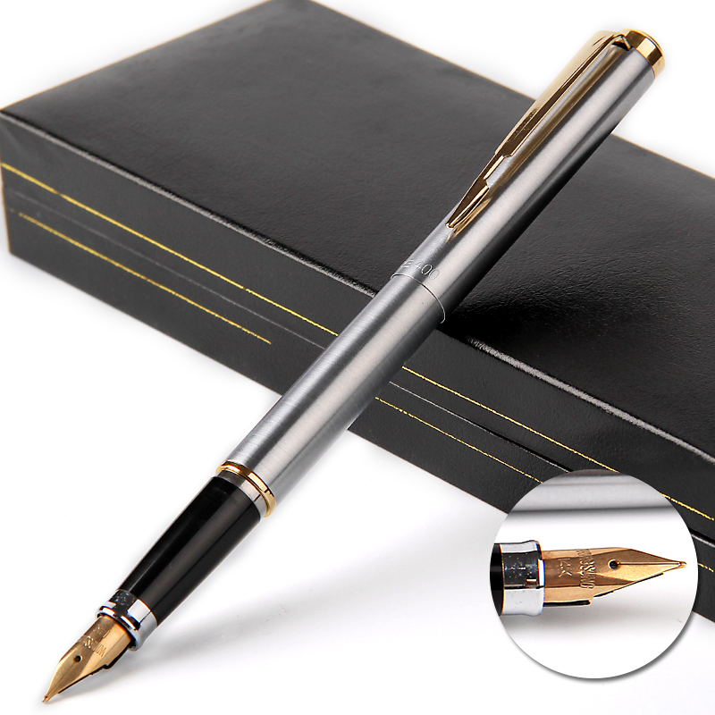 Luxury 14k Gold Fountain Pen Wingsung 90s Metal F Nib 0.5mm Gift Pens with A Gift Box Business Office Writing Stationery dikawen 891 gray gold dragon clip 0 7mm nib office stationery metal roller ball pen pencil box cufflinks for mens luxury