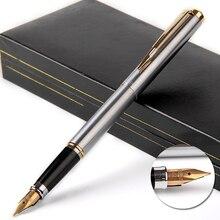 Pluma estilográfica dorada de lujo de 14k Wingsung 90s plumín de Metal F de 0,5mm, bolígrafos de regalo con caja de regalo, papelería de oficina de negocios