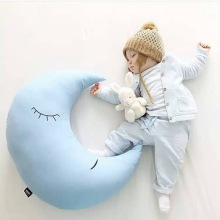 cute blue plush moon toy creative stuffed moon pillow gift about 70cm