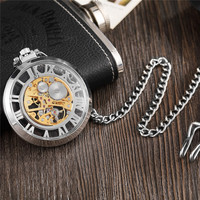 Unique Silver Mechanical Pocket Watch Transparent Large Roman Numer Hollow Steampunk Necklace Vintage Watches Hand For Men