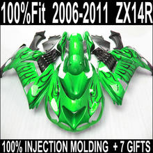 ABS plastic bodywork for Kawasaki zx14r 2006-2011 fairings Ninja ZX14R 06 07 08 09 10 11 fairing set black flames in grass green