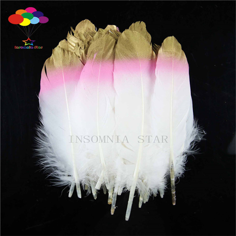 Z & Q & Y new 100 natural goose feather 15-20CM (6-8 inches) dyed pink plus gold DIY decorative craft accessories
