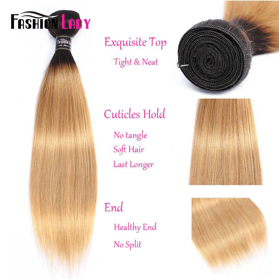 MODE DAME Pre-Farbige Brasilianische Gerade Haar Menschliche Haarwebart 1B/27 Ombre Menschliches Haar Bundles 1/3/4 Bündel pro Packung Nicht-Remy