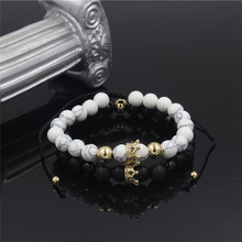 Fashion 2Pcs/Set Natural Black White Stone Beads Bangles Bracelets Sets for Women Men Strand Couples CZ Crown Charms Set Jewelry