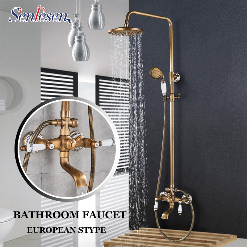 Senlesen Bathroom Shower Faucet Antique Brass W/ Hand Shower Dual Handle Wall Mount Mixer Tap 8 Rainfall head Para Bathroom wall mount shower faucet rainfall 8 brass shower head bathroom shower mixer system dual handle chrome shower mixer tap