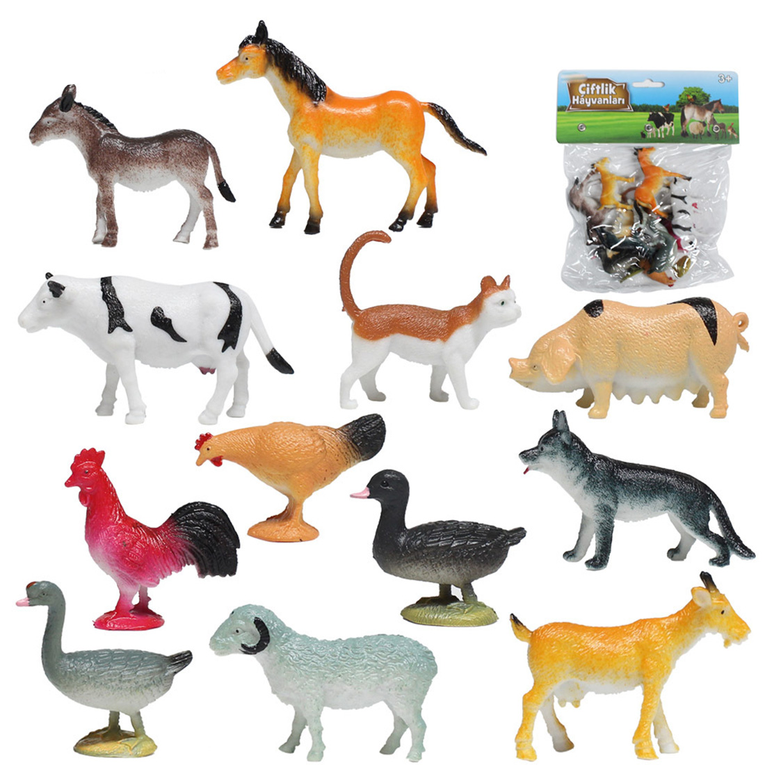 12pcs Farm Animal Model Artificial Figures Hot Set Toys For Children Plastic Simulation Mini Horse Cat Dog Cow Pig Sheep Chicken