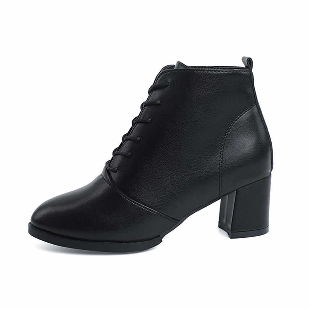 รองเท้าสตรีแฟชั่น Elegant Square root รองเท้าผู้หญิง Lace-Up สบายรองเท้ารอบ Toe รองเท้า botas mujer