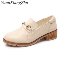 2018 New arrival Women Flat Shoes Round Toe Oxford Shoes Woman Loafers Fashion Square heel Flat Single Shoes Plus Size 35 43