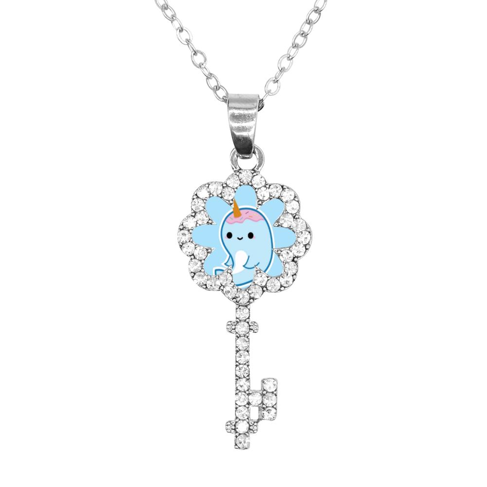 SAMCUSTOM Personality customization Key Necklace narwhal With big eyes 3D Print Steel Women Necklaces Pendant Jewelry Female