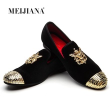 MEIJIANA Velvet Loafers With Spikes Top Quality Slip On Mens Shoes Casual Slippers Flats Handmade Party And Prom