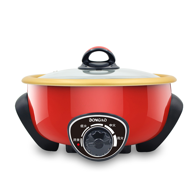 WUXEY Electric Hot Pot Household Electric Food Steamer Multifunctional Non-stick Pan Split Red Yellow Electric Cooker Wok edtid multifunctional electric cooker mini heat pan students hot pot without oil fume nonstick frying pan special offer