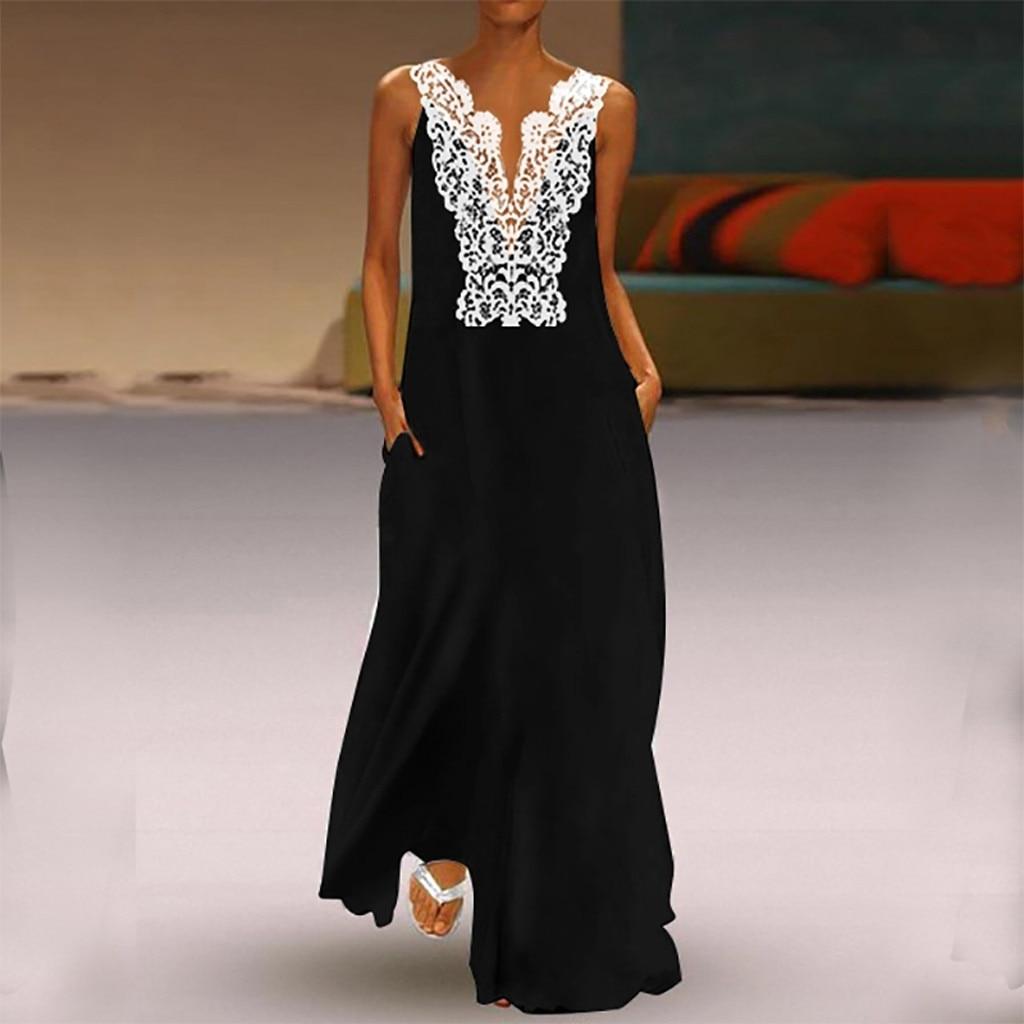 Women Dress Summer 2019 Vintage V Neck Splicing Sleeveless Lace Hollow Loose Long Dress Boho Maxi Dress Vestido Robe Plus Size