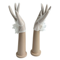 White Ivory Charming Bridal Gloves Short Wrist Length For Bride Cheap Wedding Accessories ST19