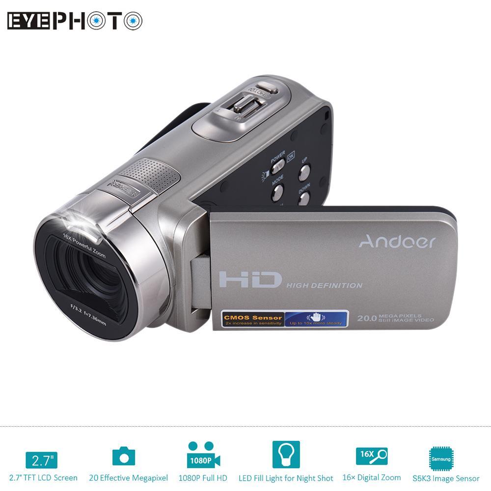 Prix pour Andoer hdv-312p numérique vidéo caméra full hd 1080 p 16x20 MP Portable Caméscopes à usage Domestique DV avec 2.7 Pouce LCD Rotatif écran
