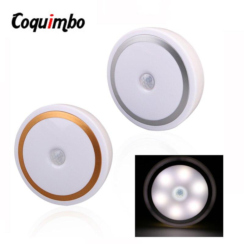 купить 6LED PIR Body Motion Sensor Activated Night Light Wall Light Induction Lamp Closet Corridor Cabinet LED Sensor Light Battery по цене 175.49 рублей