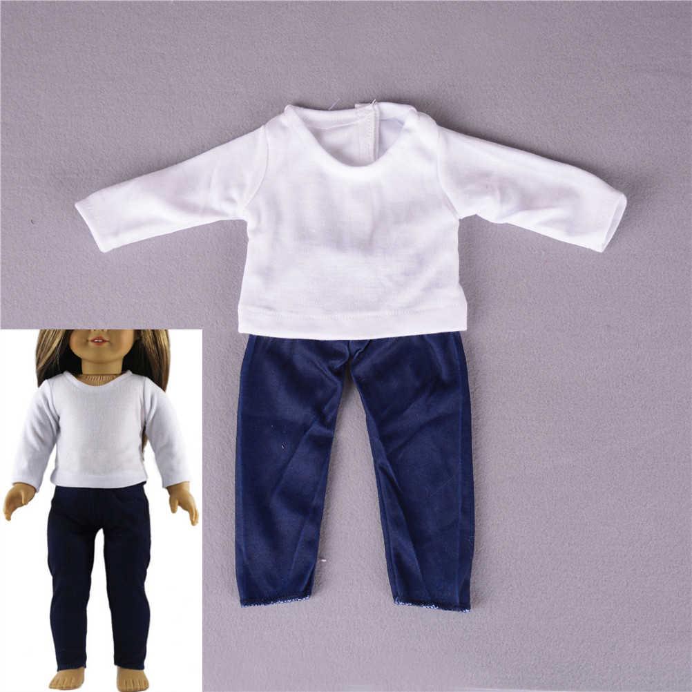 2 個カジュアル Tシャツパンツ衣装フィットのための 18 インチの女の子服設定世代人形人形アクセサリー