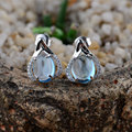 GZ Earring 925 Silver Women Vintage Blue Stone S925 Thai Sterling Silver boucle d'oreille Stud Earrings