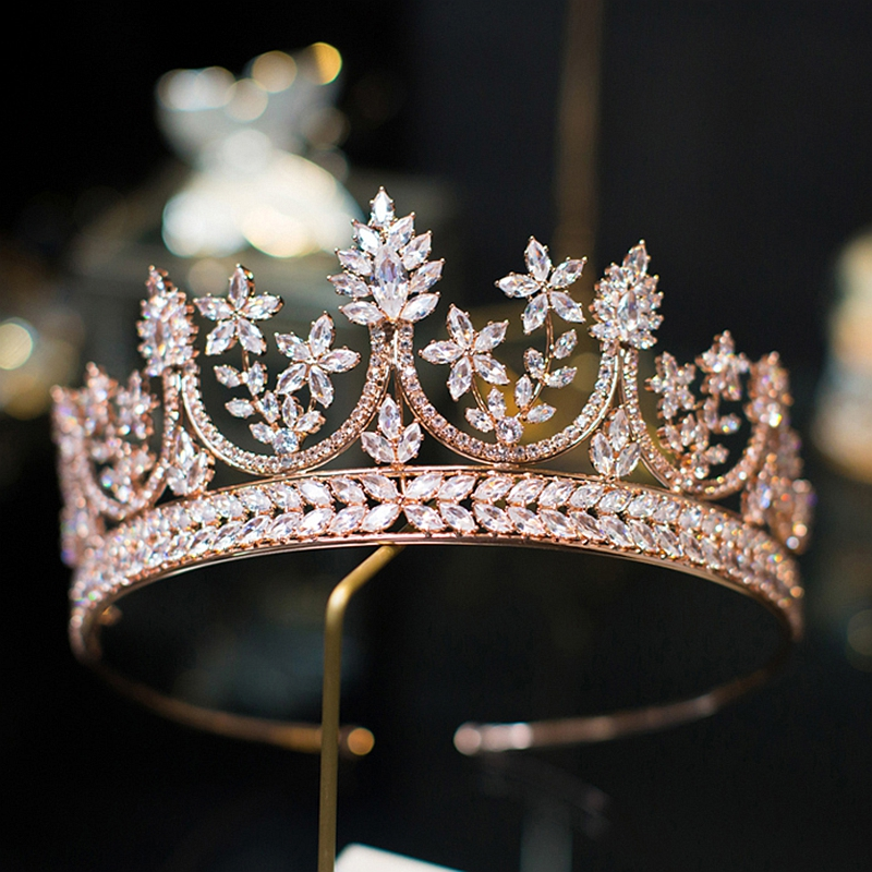 Delicate Grade AAAA CZ Crystal Rose Gold Crown Clear Cubic Stone Shiny Silver White Gold Plating Tiaras For Wedding Bride Queen